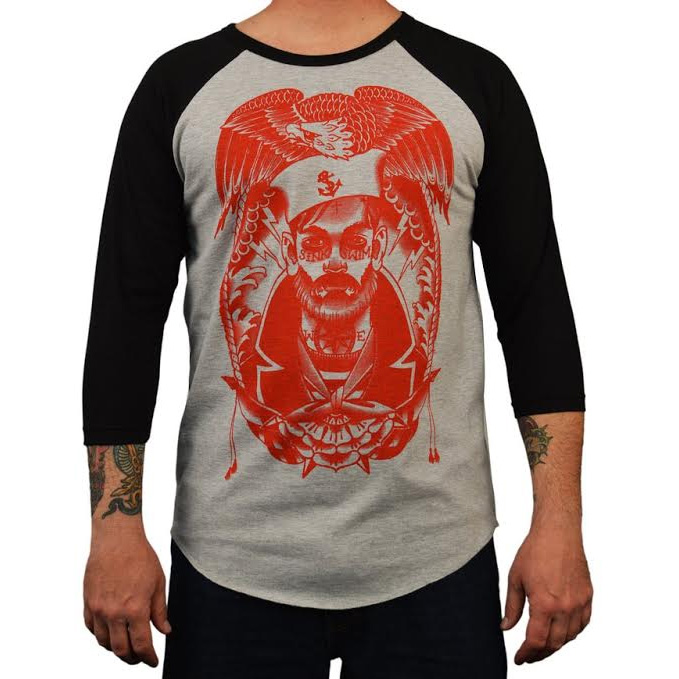 Baseball Style Sink or Swim guys slim fit shirt by Low Brow Art Company - artist Charlie Coffin - SALE sz M only
