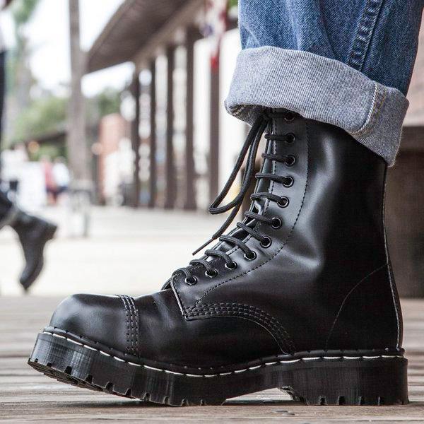Englander 11 Eye Steel Toe Boot in BLACK by Solovair (Made In England!)