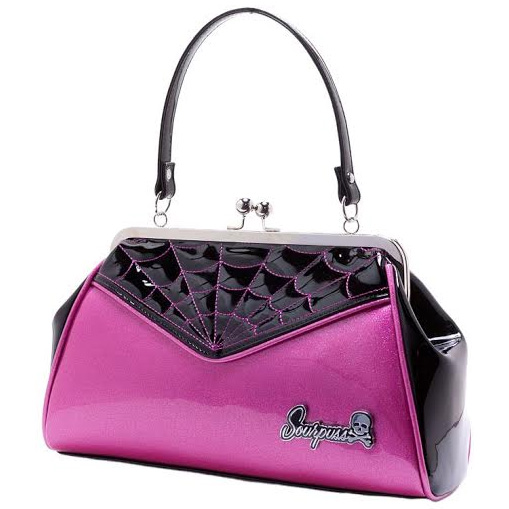 Backseat Baby Kisslock Web Purse in BABY PINK by Sourpuss