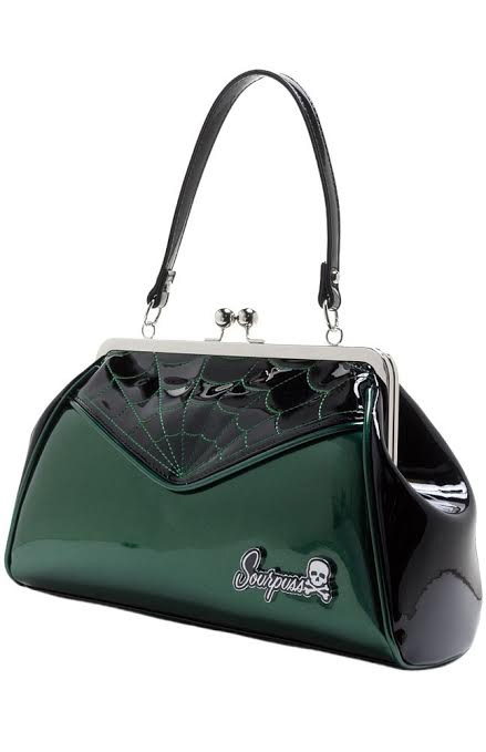 Backseat Baby Kisslock Web Purse in BABY MONSTER GREEN by Sourpuss