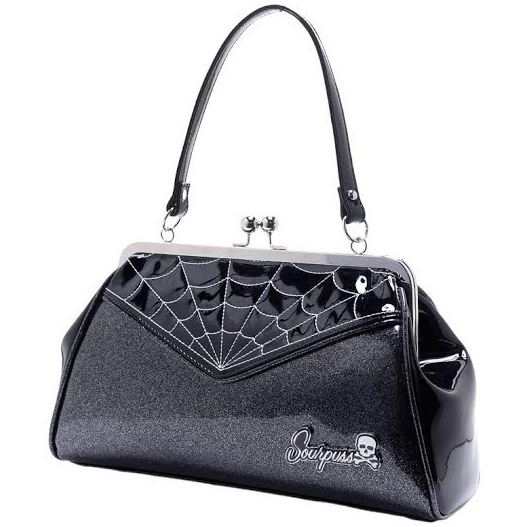Backseat Baby Kisslock Web Purse in SILVER/BLACK by Sourpuss