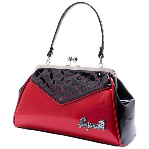 Backseat Baby Kisslock Web Purse in RED by Sourpuss