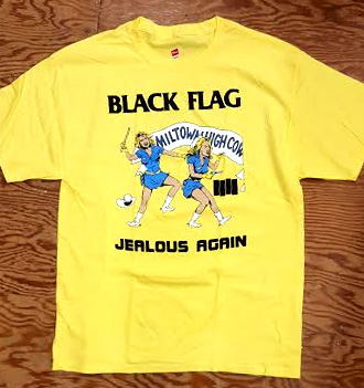 Black Flag- Jealous Again on a yellow shirt