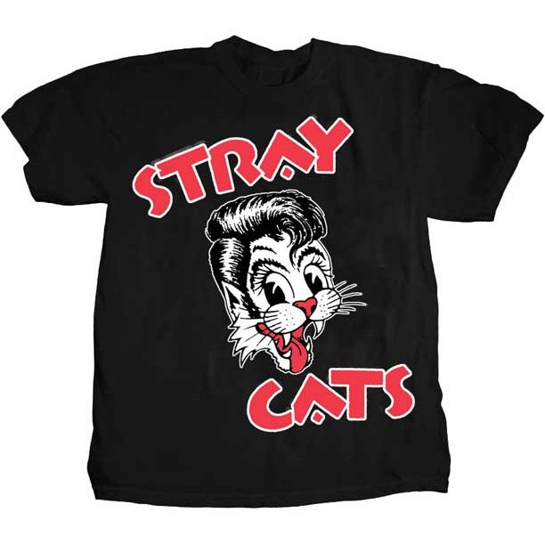 Stray Cats- Cat on a black shirt