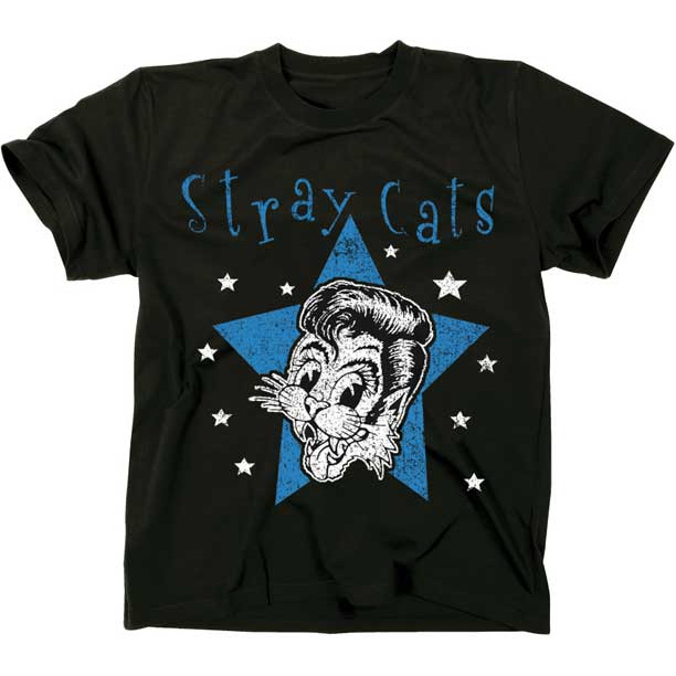 Stray Cats- Star Cat on a black ringspun cotton shirt