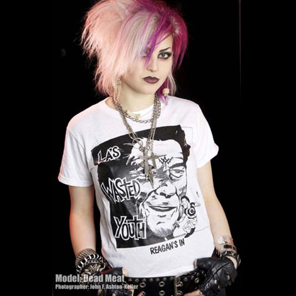Wasted Youth- Reagan's In on a white YOUTH sized shirt
