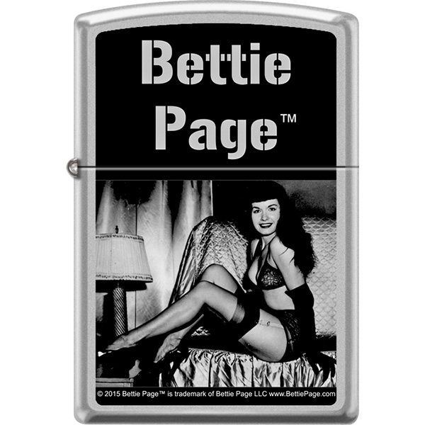 Bettie Page- On Bed on a silver genuine Zippo brand lighter