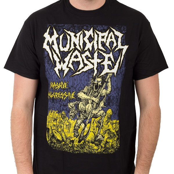 Municipal Waste- Massive Aggressive on a black shirt