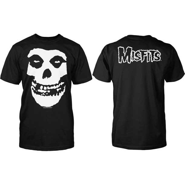 Misfits- Skull (Solid White Print) on front, Logo on back on a black ringspun cotton shirt