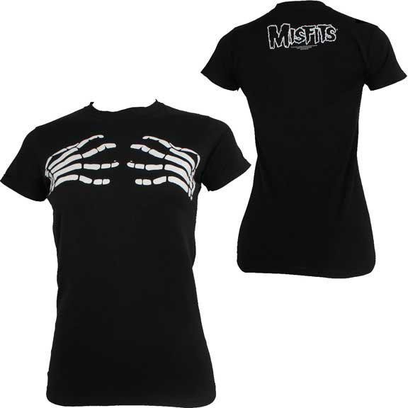Misfits- Groping Skeleton Hands on front, Logo on back on a black girls fitted shirt