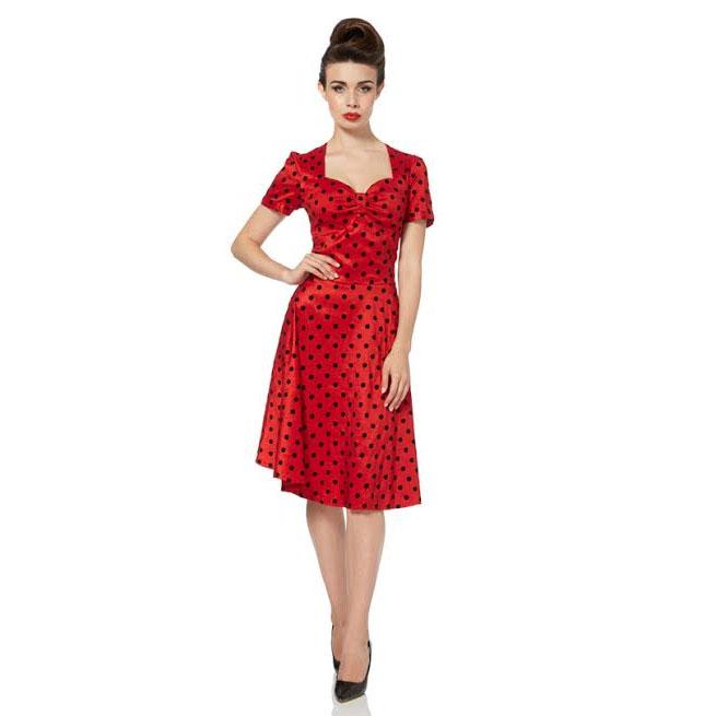 Eliza Polka Dot Flare Dress by Voodoo Vixen - SALE sz L only - last one