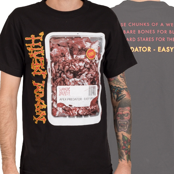 Napalm Death- Apex Predator on front & back on a black shirt