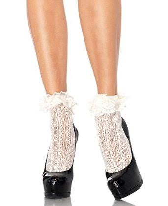 Crochet with With Ruffle Lace Trim Top Ankle Socks  - in ivory