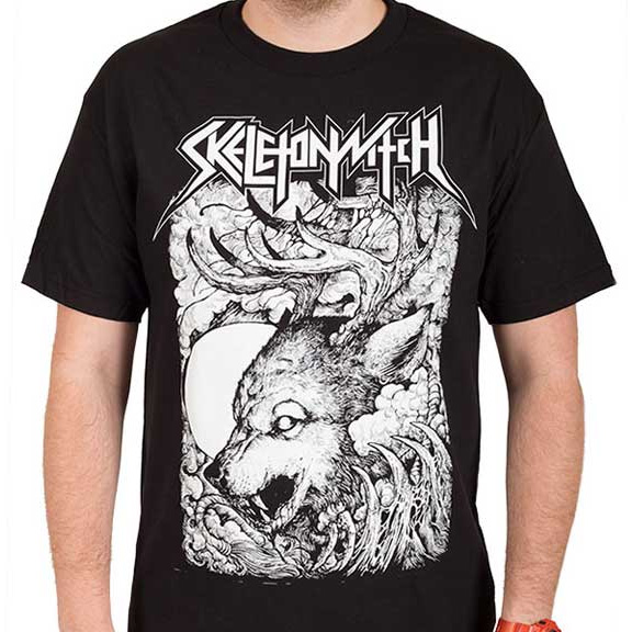 Skeletonwitch- Antler Wolf on a black shirt