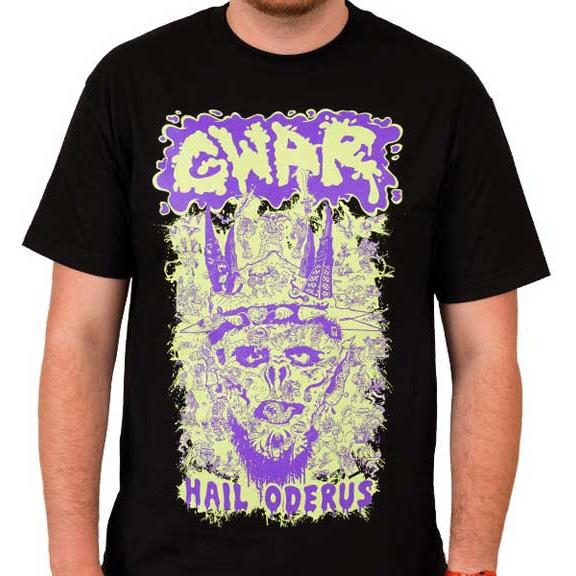 Gwar- Hail Oderus on a black shirt