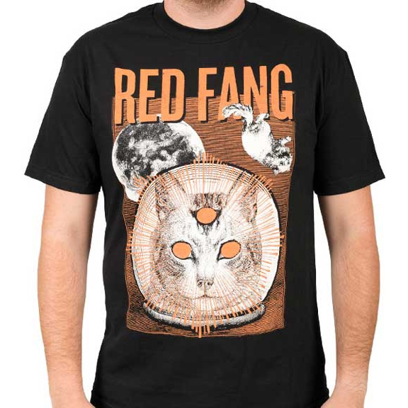 Red Fang- Space Cat on a black shirt