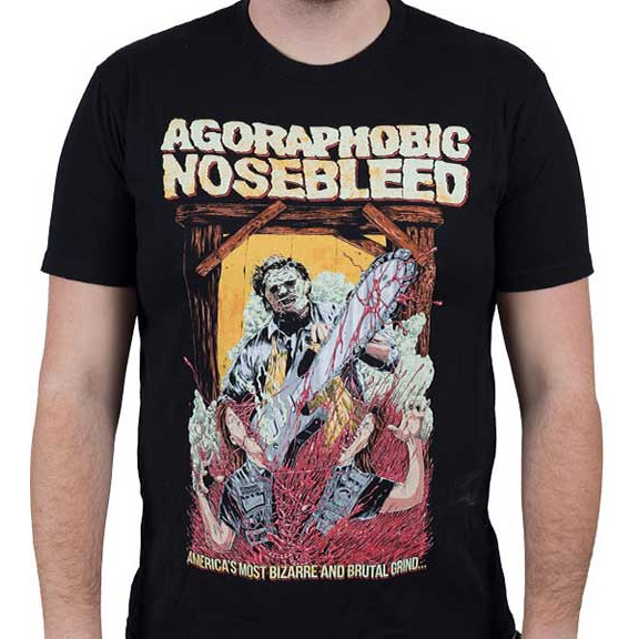 Agoraphobic Nosebleed- Leatherface on a black ringspun cotton shirt