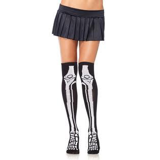 Skeleton Bones Over the Knee Socks