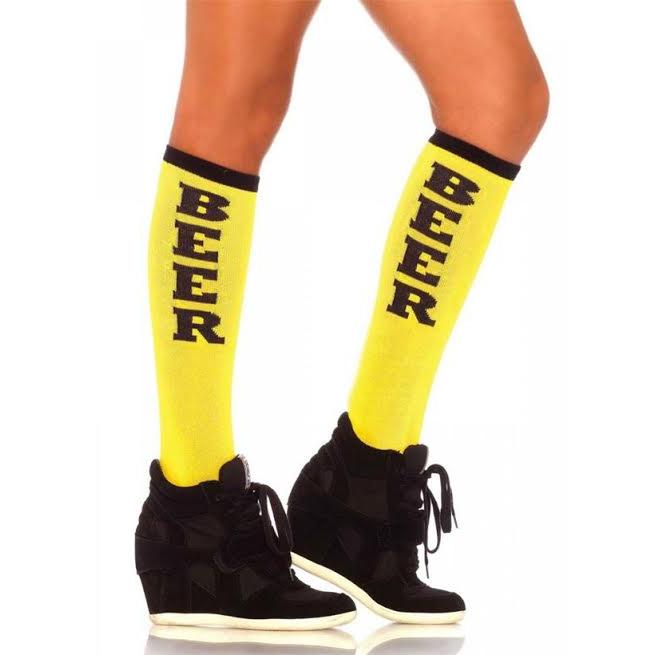 Beer Run Knee Socks - in yellow & black