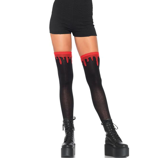 Dripping Blood Over the Knee Socks - in black