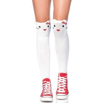 Goodbye Kitty Knee Socks - in white