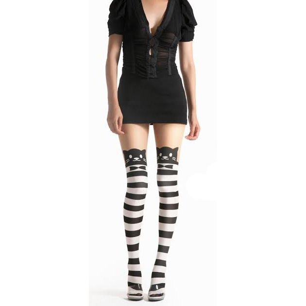 Fancy Cat Black & White Striped Cat Pantyhose
