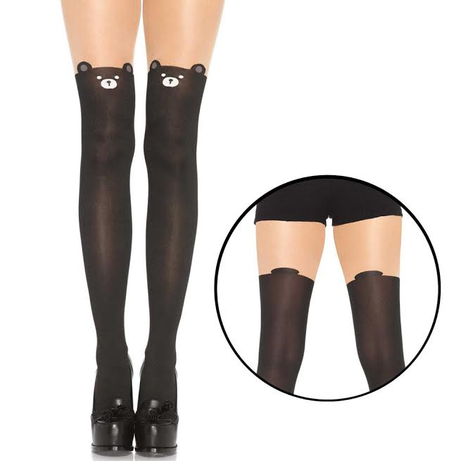 Black Bear Pantyhose - front face & back tail print
