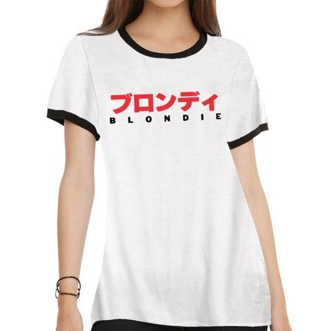 Blondie- International on a white girls ringer shirt by Goodie Two Sleeves (Sale price!)
