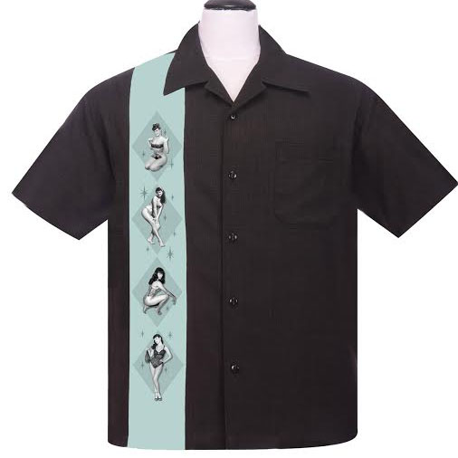 Bettie Page Pinup Panel Button Up Lounge Shirt by Steady - SALE
