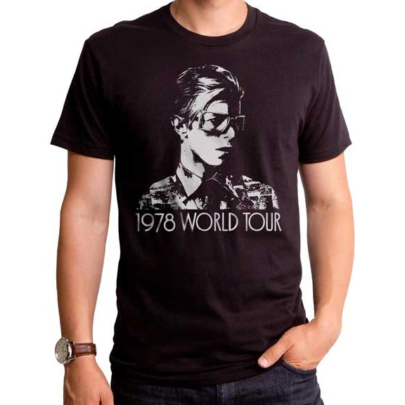 David Bowie- 1978 World Tour on a black ringspun cotton shirt by Goodie Two Sleeves