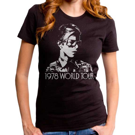 David Bowie- 1978 World Tour on a black GIRLS fitted shirt by Goodie Two Sleeves
