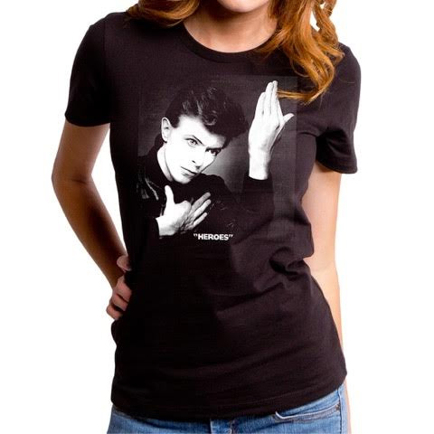 David Bowie- Heroes on a black GIRLS fitted shirt by Goodie Two Sleeves (Sale price!)