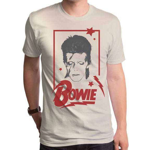 David Bowie- Aladdin Frame on a cream ringspun cotton shirt by Goodie Two Sleeves