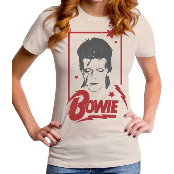 David Bowie- Aladdin Frame on a cream girls fitted shirt by Goodie Two Sleeves