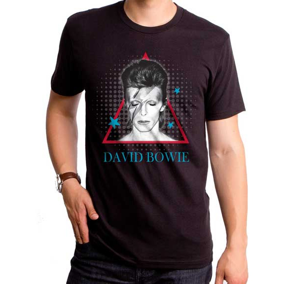 David Bowie- Aladdin Pyramid on a black ringspun cotton shirt by Goodie Two Sleeves (Sale price!)