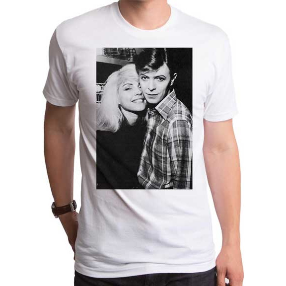 Blondie & Bowie on a white ringspun cotton shirt by Goodie Two Sleeves