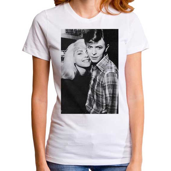 Blondie & Bowie on a white girls fitted shirt by Goodie Two Sleeves