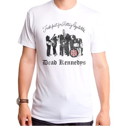 Dead Kennedys- Fresh Fruit on a white ringspun cotton shirt by Goodie Two Sleeves
