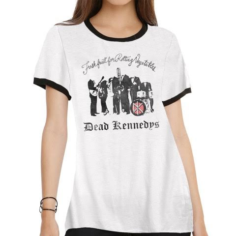 Dead Kennedys- Fresh Fruit on a white girls fitted ringer shirt  by Goodie Two Sleeves