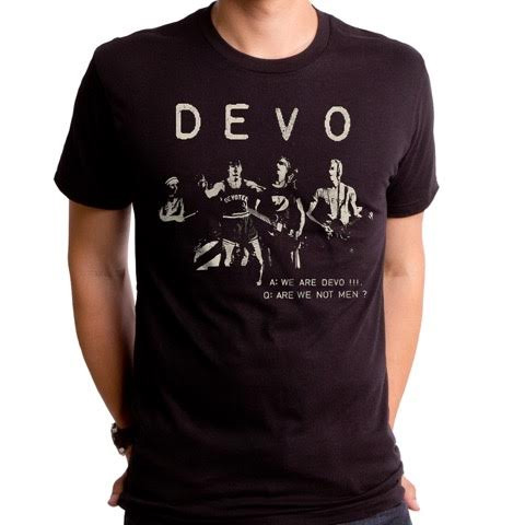 Devo- Are We Not Men? Live Pic on a black ringspun cotton shirt by Goodie Two Sleeves