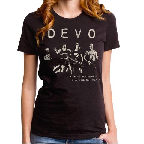 Devo- Are We Not Men? Live Pic on a black girls fitted shirt by Goodie Two Sleeves