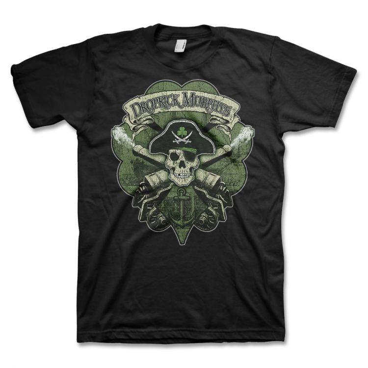 Dropkick Murphys- Skull & Cannons on a black shirt