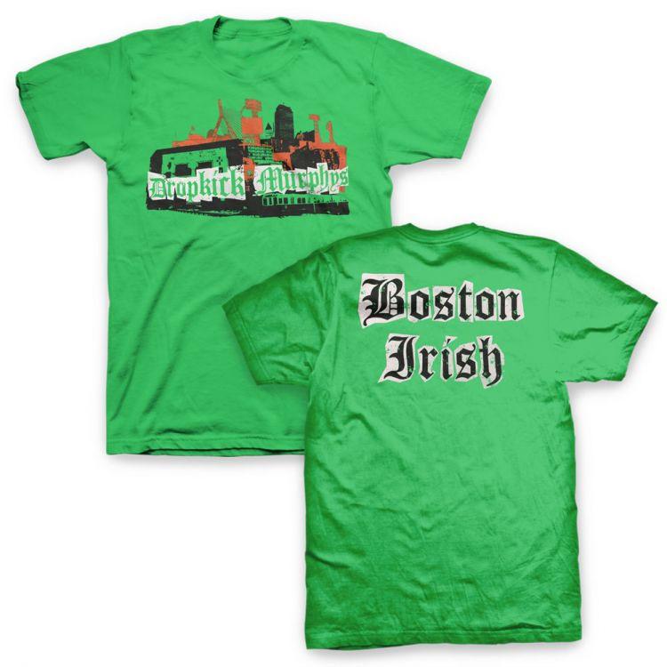 Dropkick Murphys- Logo on front, Boston Irish on back on a green shirt