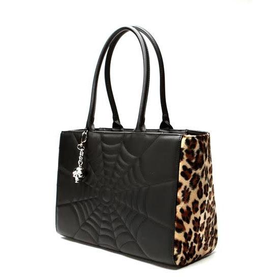 Elvira Lucky Me Tote Bag by Lux De Ville - Leopard & Black Matte