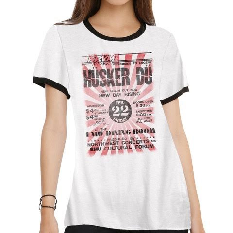Husker Du- New Day Rising Tour Poster on a vintage white girls fitted ringer shirt by Goodie Two Sleeves (Sale price!)
