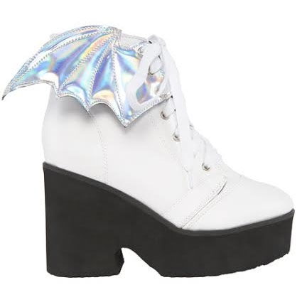 Bat Royalty White Walker Bat Wing Boot by Iron Fist  & Ash Costello - in White - SALE