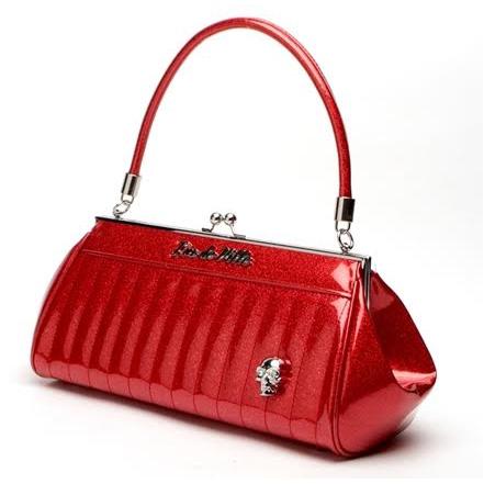 Lady Vamp Kisslock Bag by Lux De Ville - RED SPARKLE