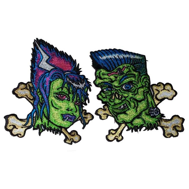 Frank & Bettie Undead Embroidered Patch Set by Kreepsville 666 (ep601)