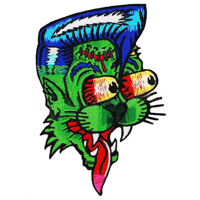 Rockabilly Zombie Cat Embroidered Patch by Kreepsville 666 (ep599)