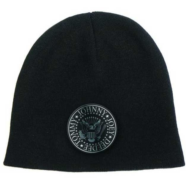 Ramones- Presidential Seal on front, Logo on back on a black beanie